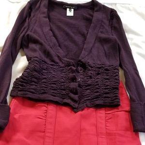 Nanette Lepore cardigan and skirt.